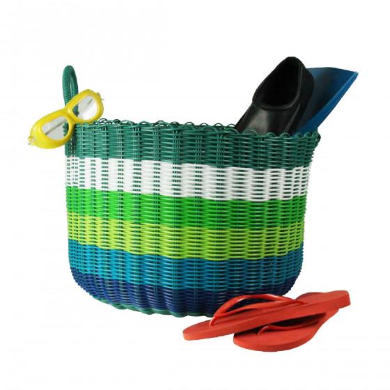 panier en plastique tress bleu vert. Black Bedroom Furniture Sets. Home Design Ideas