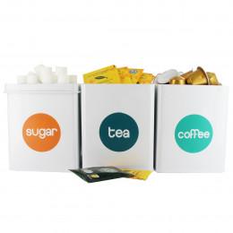 3 boîtes à épicerie en métal blanc avec rond coloré et inscription