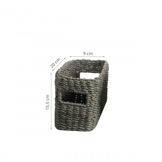 Panier Tressé En Papier : Panier rectangulaire tress? gris