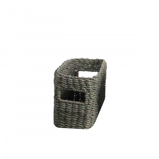 Petit panier rectangulaire tressé en papier gris taille S