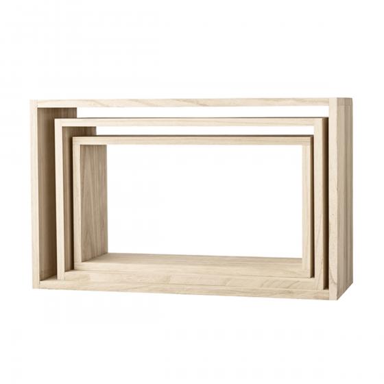 etag re murale en bois naturel rectangulaire. Black Bedroom Furniture Sets. Home Design Ideas