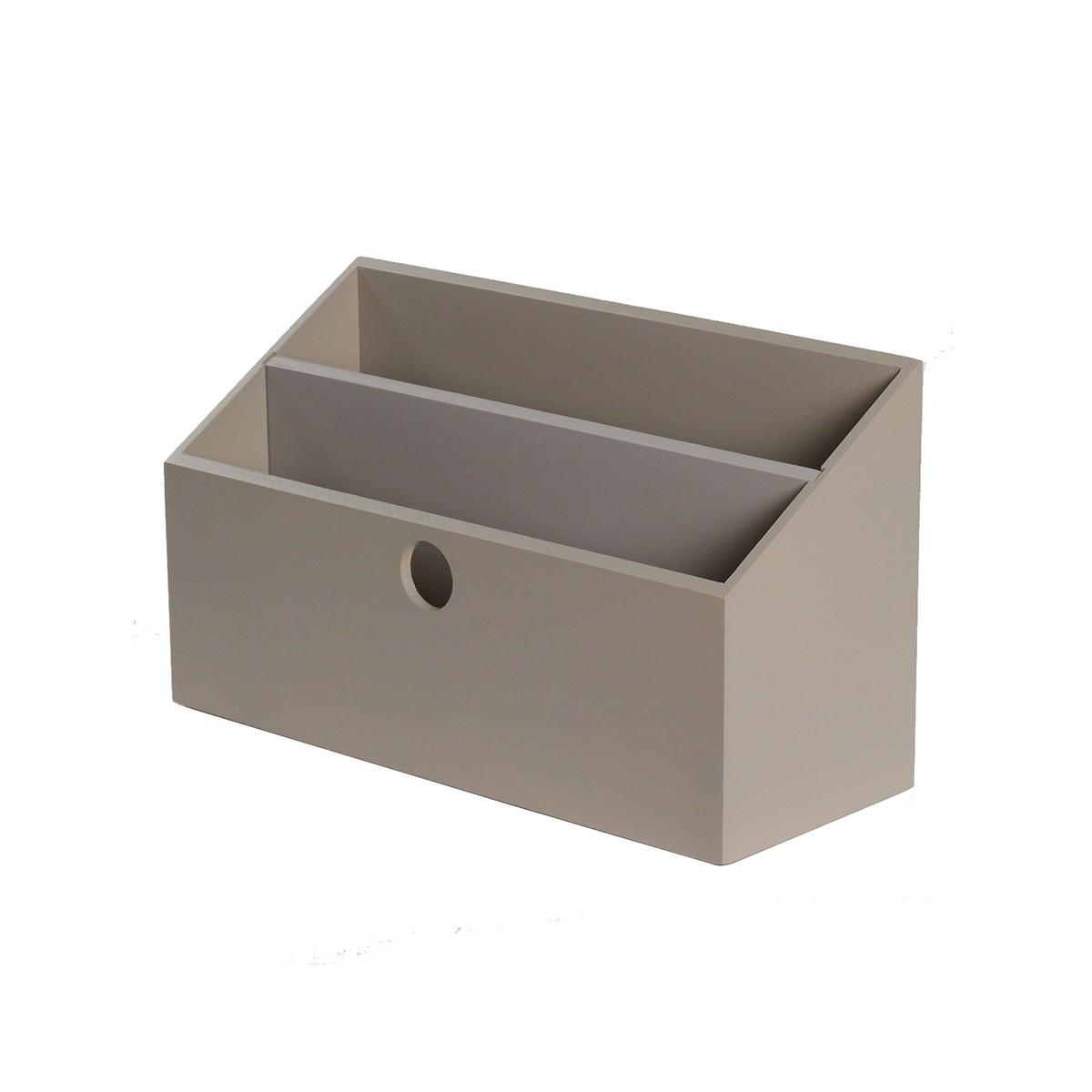 Porte lettres bois gris taupe rangement courrier - Porte revues en bois ...
