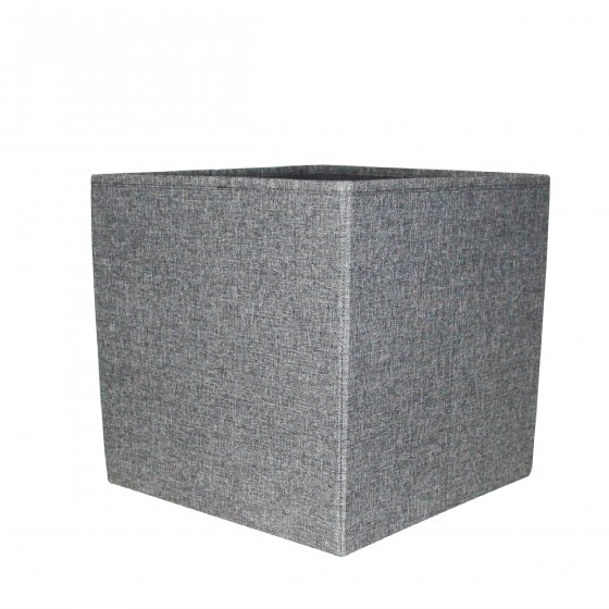 bo te de rangement cube tissu gris chin. Black Bedroom Furniture Sets. Home Design Ideas