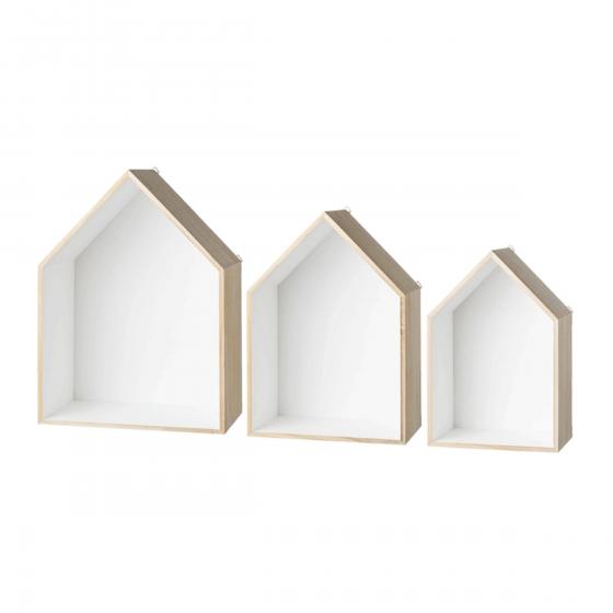 etag re en bois en forme de maison. Black Bedroom Furniture Sets. Home Design Ideas