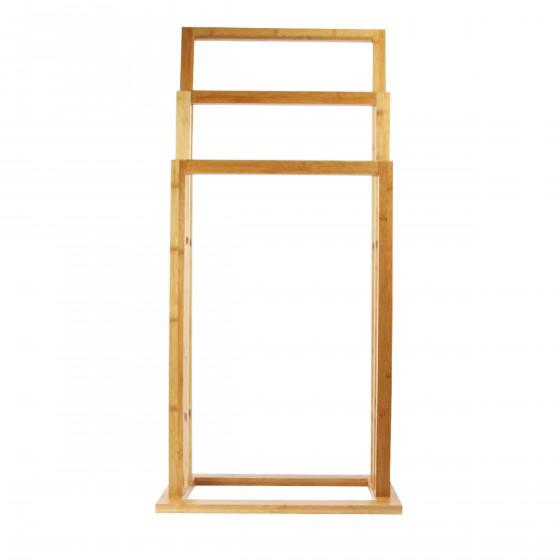 Porte serviette en bois de bambou sur pied - Porte serviette sur pied en bois ...