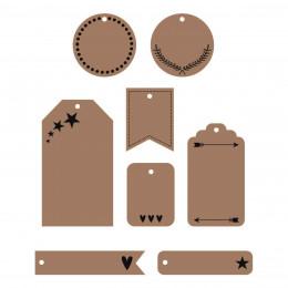 24 Etiquettes perforées pour cadeaux Kraft et noir