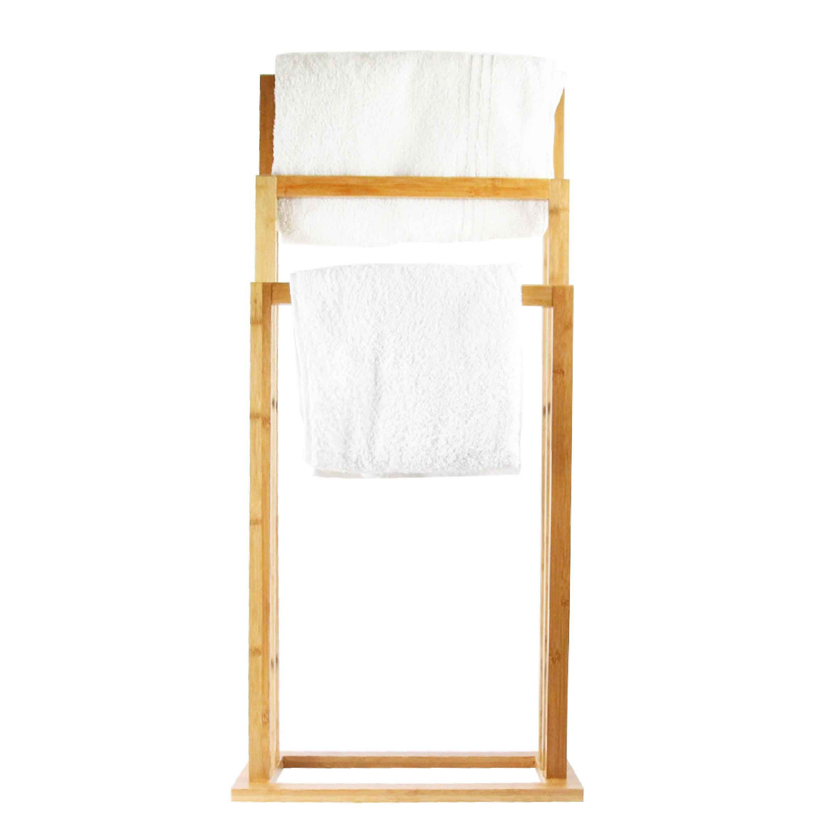 porte serviette en bois de bambou sur pied. Black Bedroom Furniture Sets. Home Design Ideas