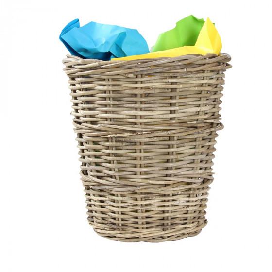 Corbeille à papier cylindrique en osier