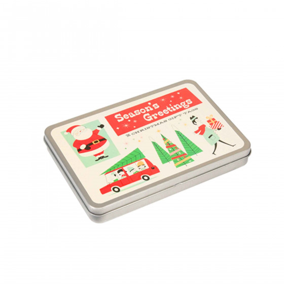 36 étiquettes cadeaux dans une boîte métallique
