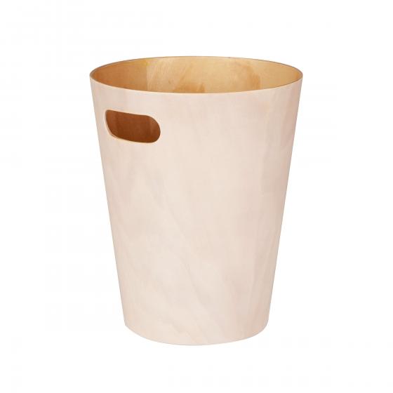 Poubelle de bureau en bois crème