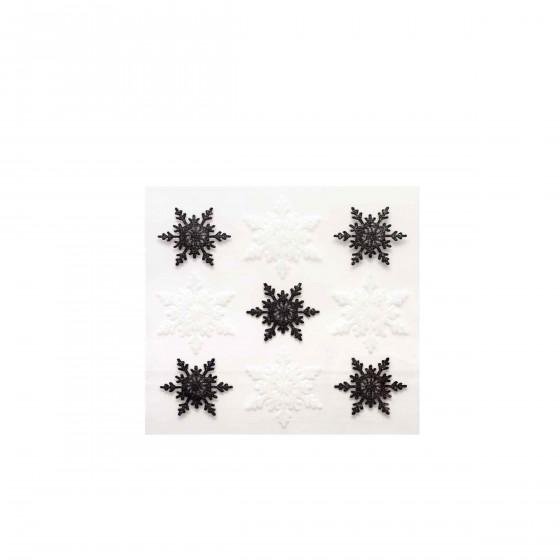 9 autocollants flocons noirs et blancs