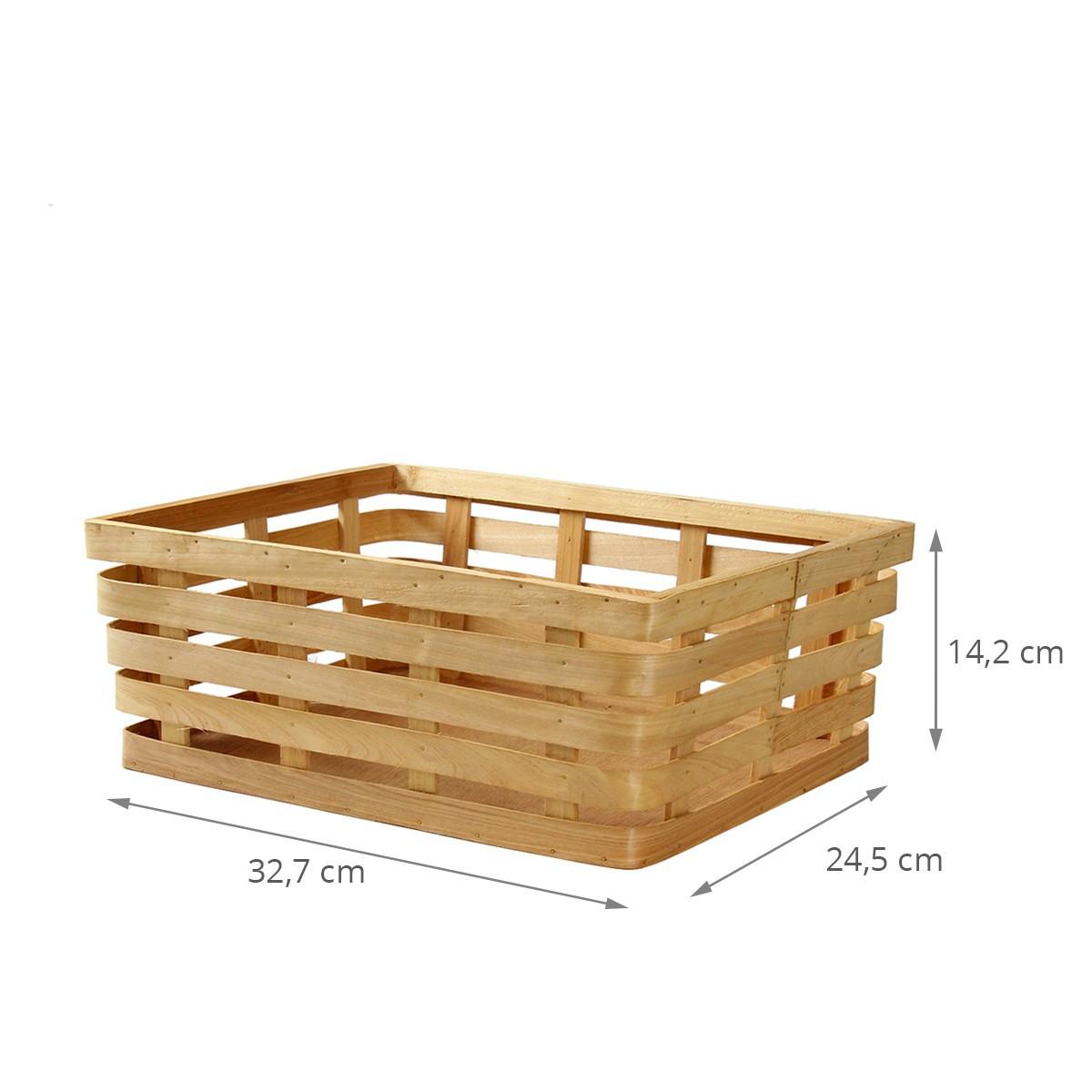 panier de rangement rectangulaire en lattes de bois blond. Black Bedroom Furniture Sets. Home Design Ideas