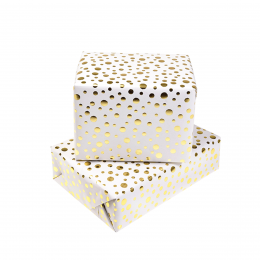 Feuille de papier cadeau blanc à pois or