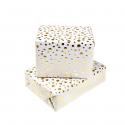 Papier cadeau blanc à pois or