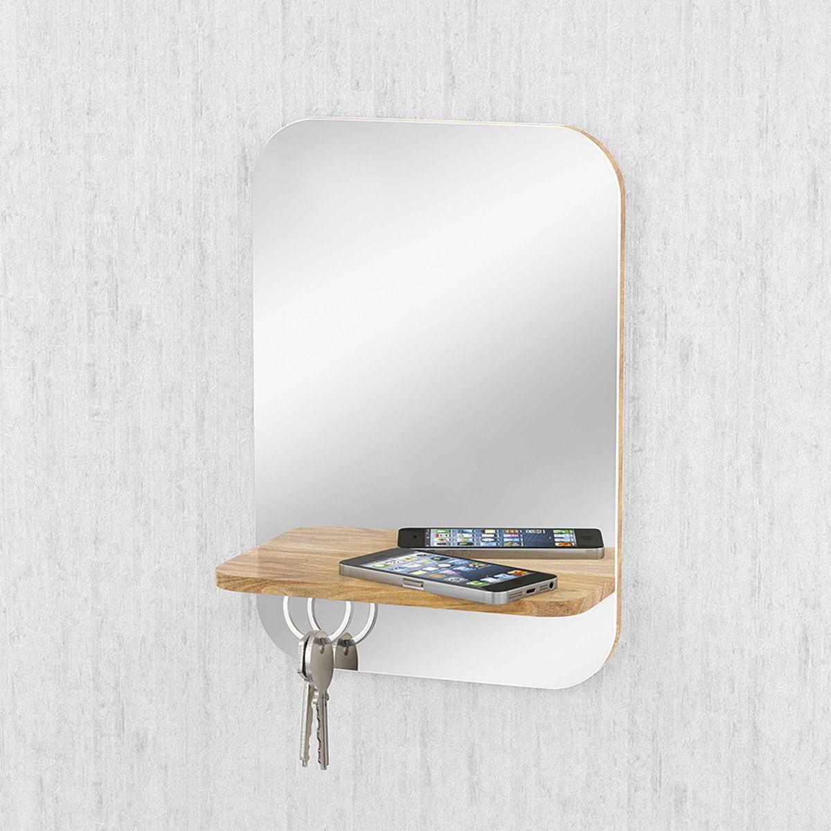 Miroir d 39 entr e avec tag re et aimants cl s - Miroir d entree ...