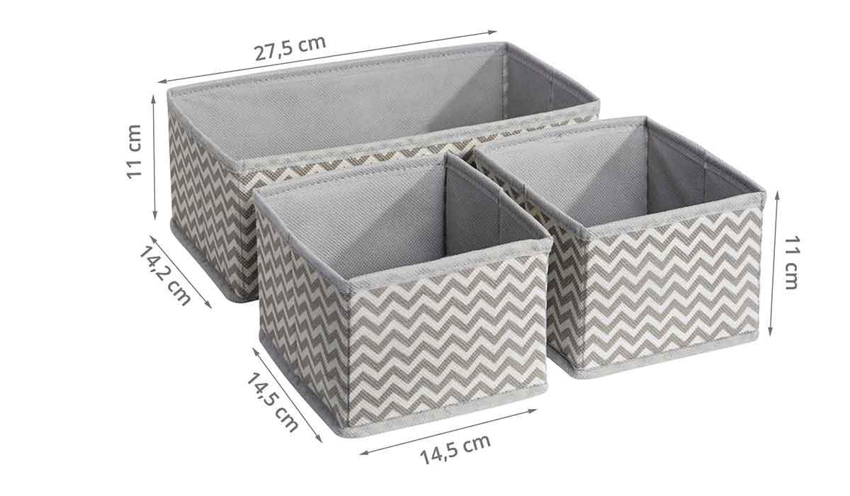 3 organisateurs de tiroir en tissu rangement - Organisateur tiroir sous vetements ...