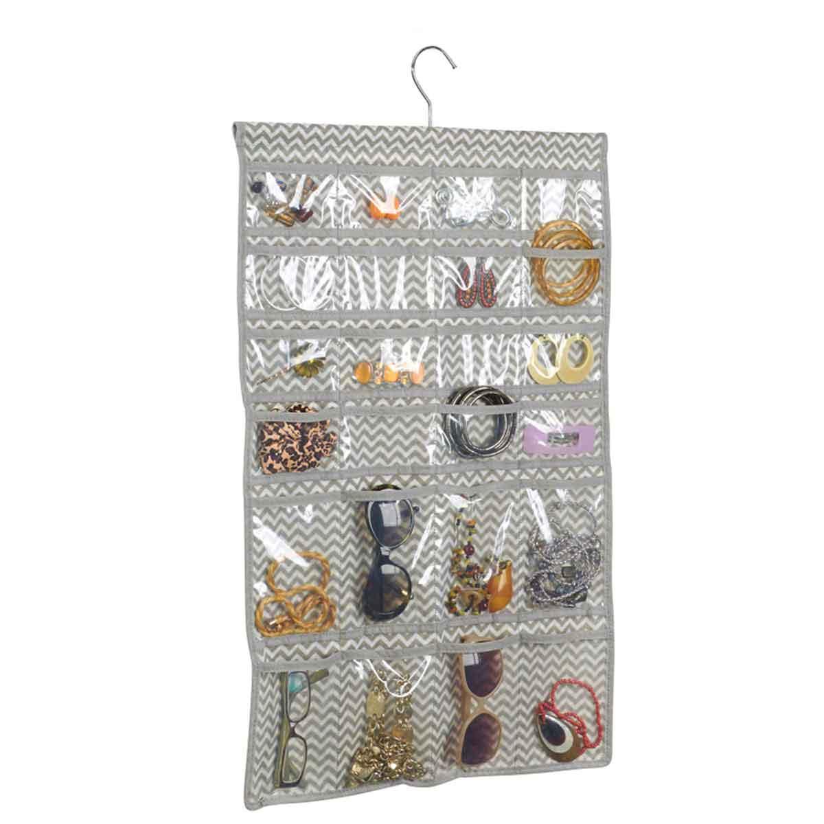 cintre organisateur bijoux 48 poches - rangement accessoires