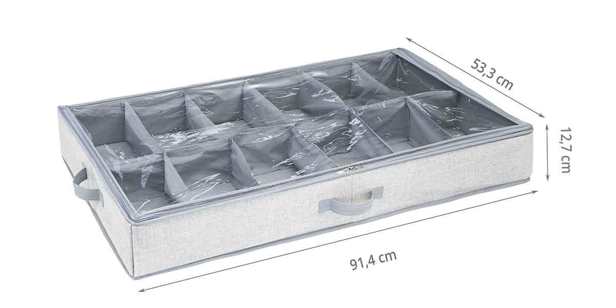 Dimensions de la housse sous le lit à 12 compartiments pour chaussures sous le lit