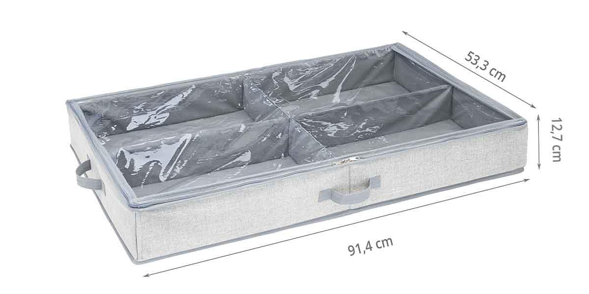 Dimensions de la housse à 4 compartiments pour bottes sous le lit