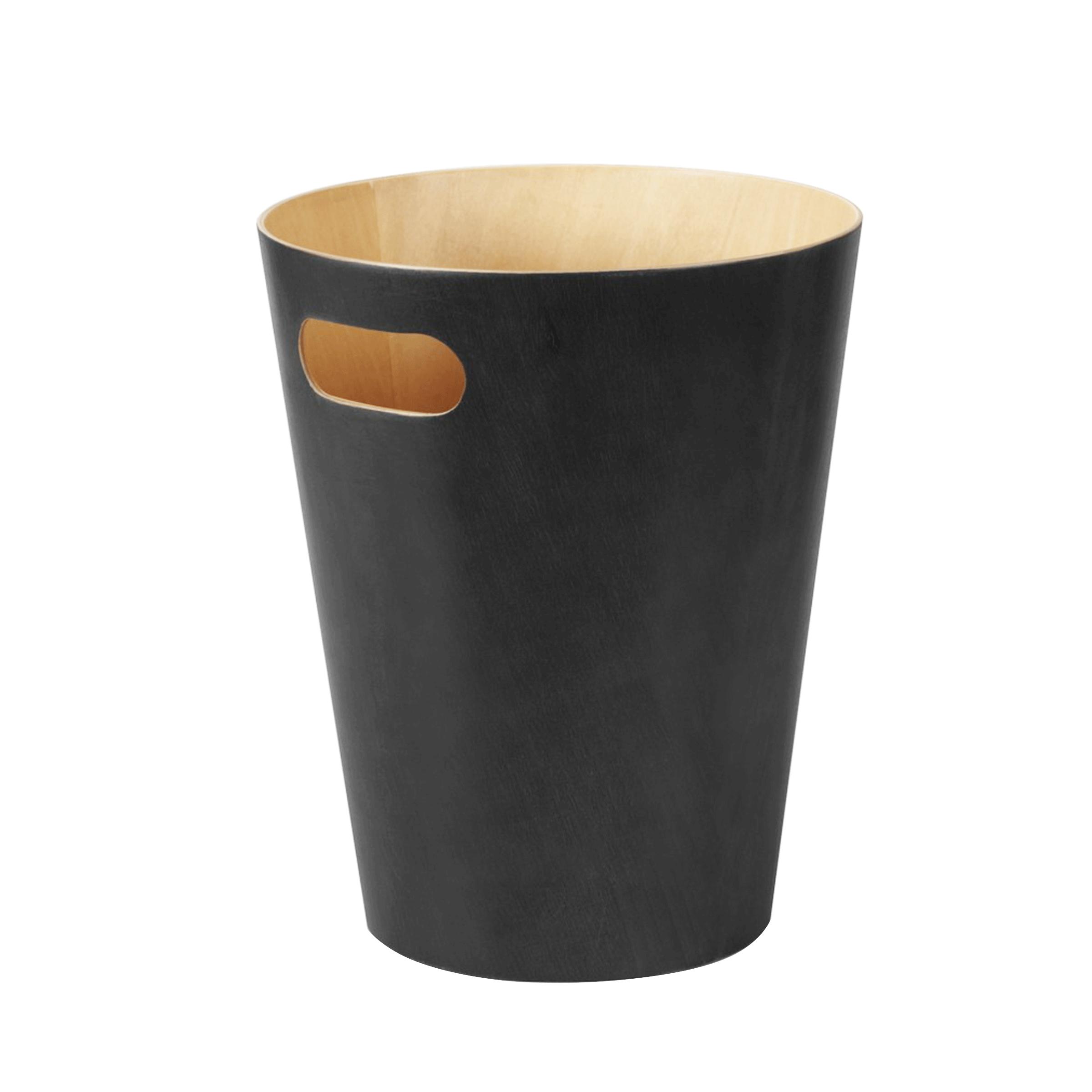 Corbeille à papier en bois naturel à l'intérieur et noir à l'extérieur