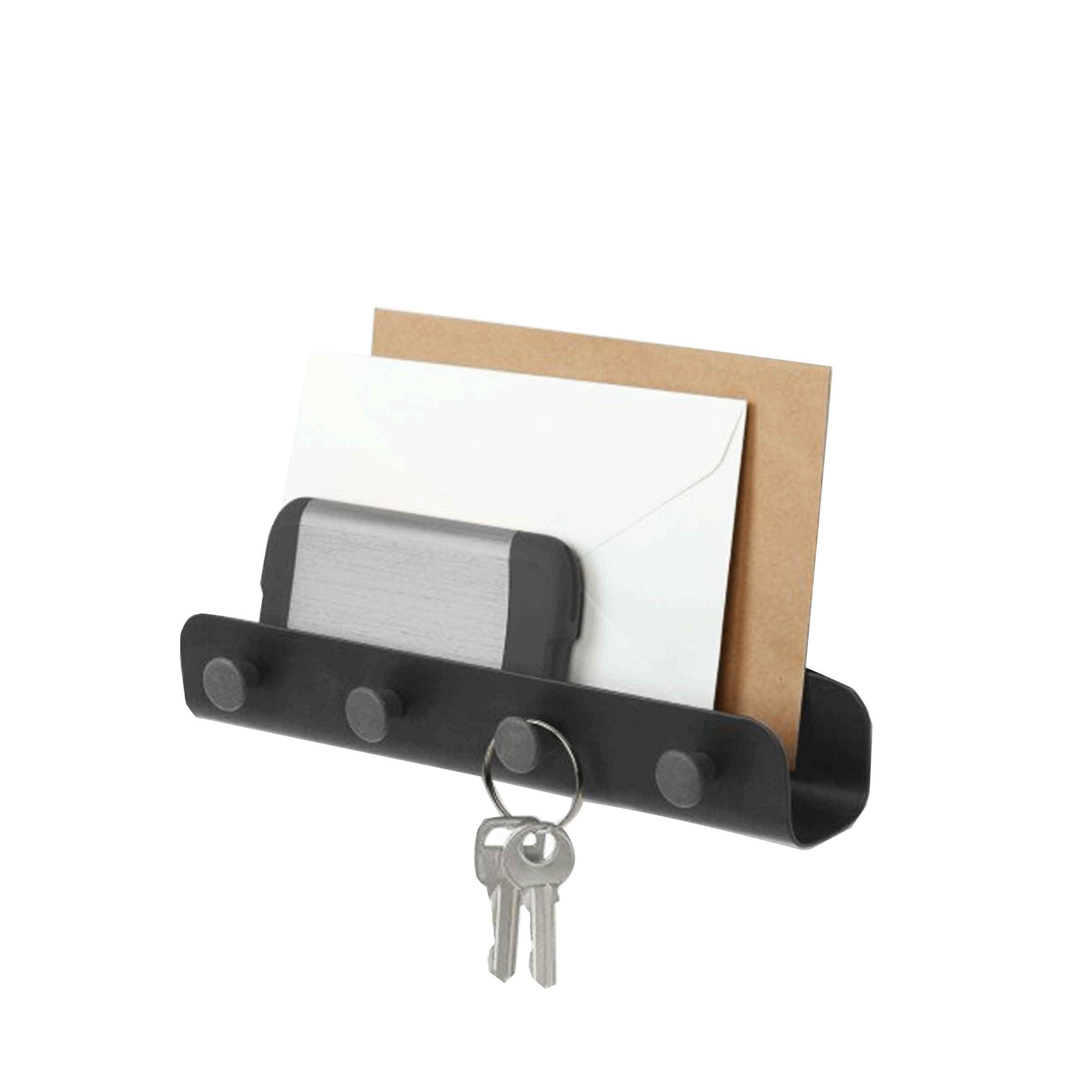 Vide poche mural métallique noir avec crochets pour suspendre les clés