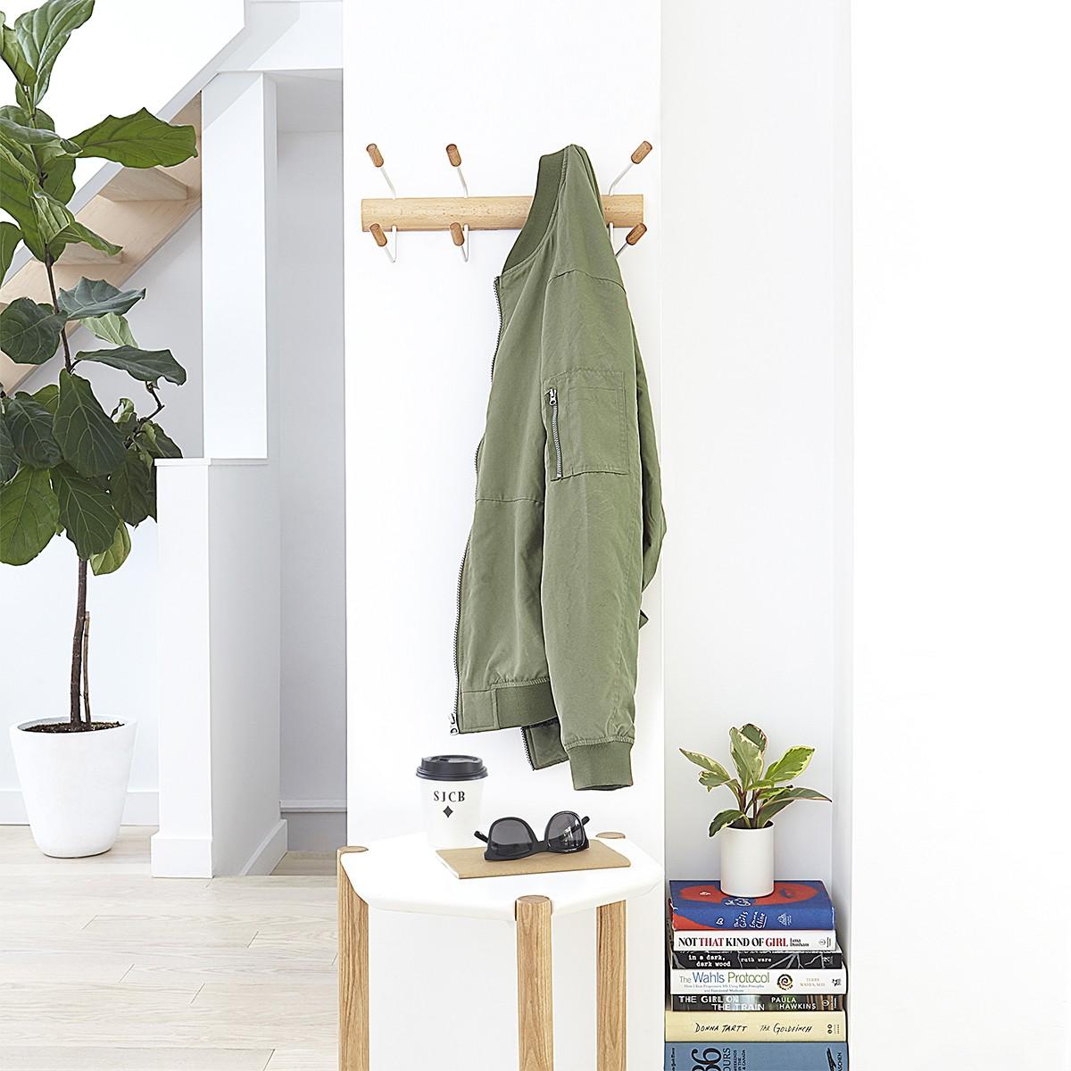 Porte manteau en bois et métal blanc à fixer ou à suspendre à une porte
