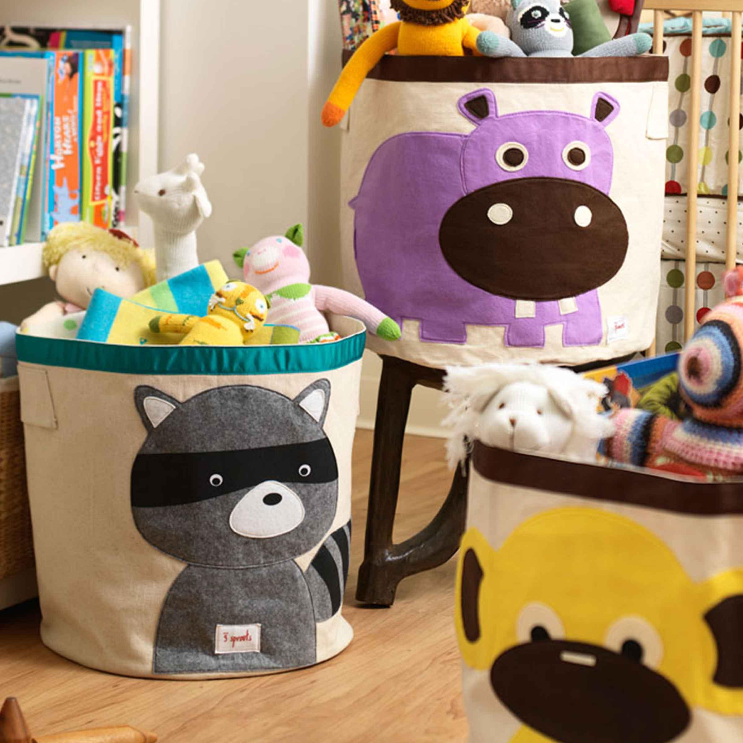 Sac à jouets en tissu avec motif raton laveur
