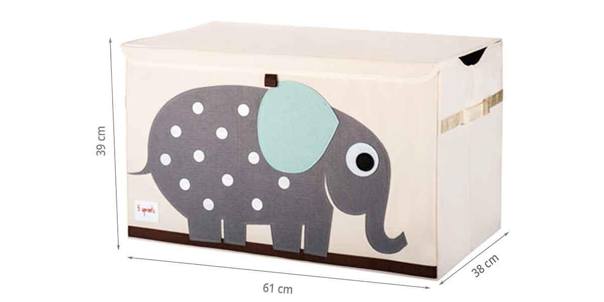 Dimensions du coffret à jouets éléphant