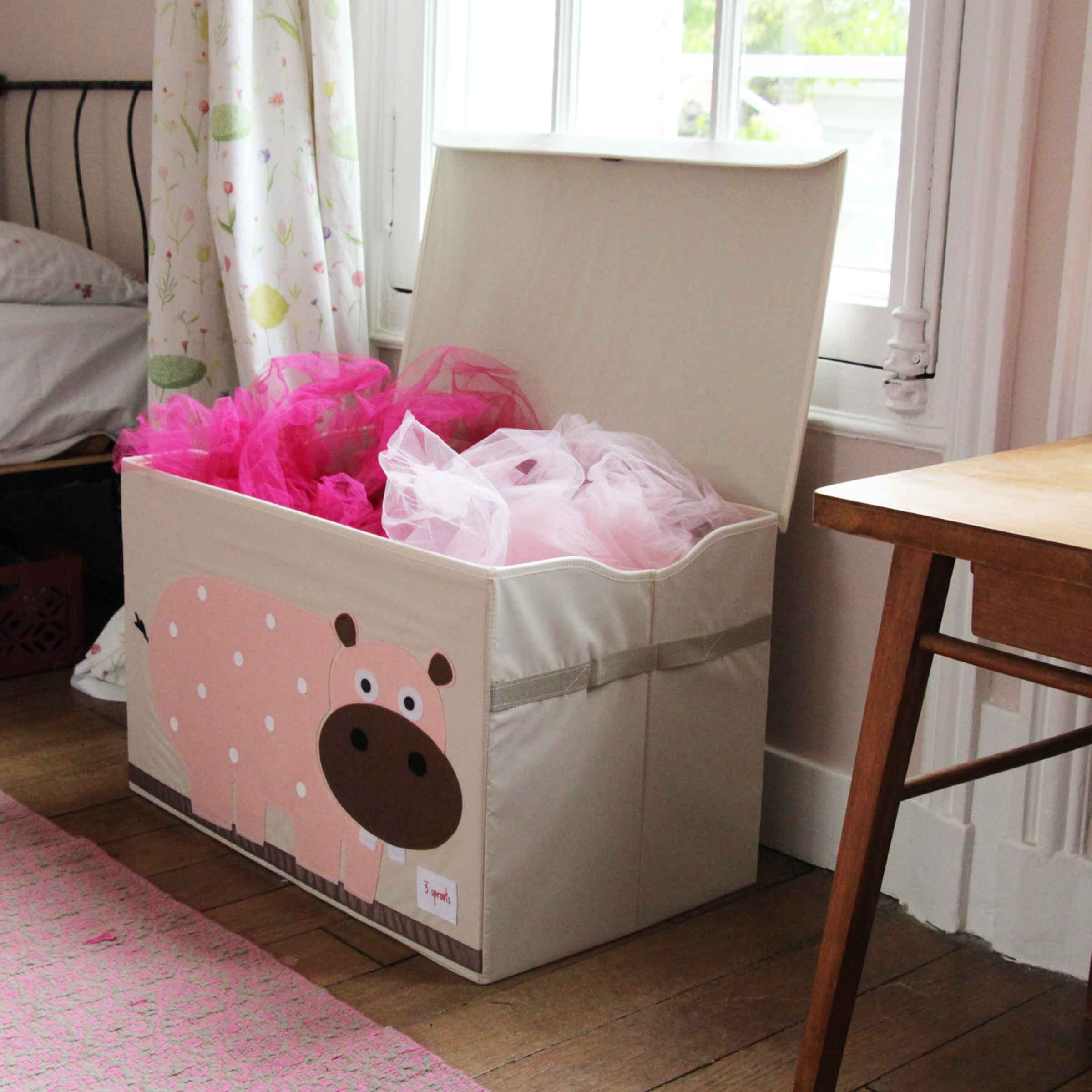 Malle de rangement pour jouets hippopotame rose