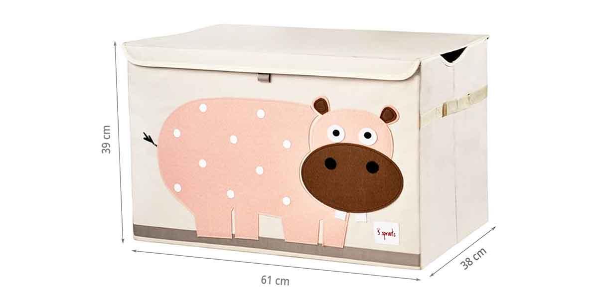 Dimensions du coffret à jouets hippo