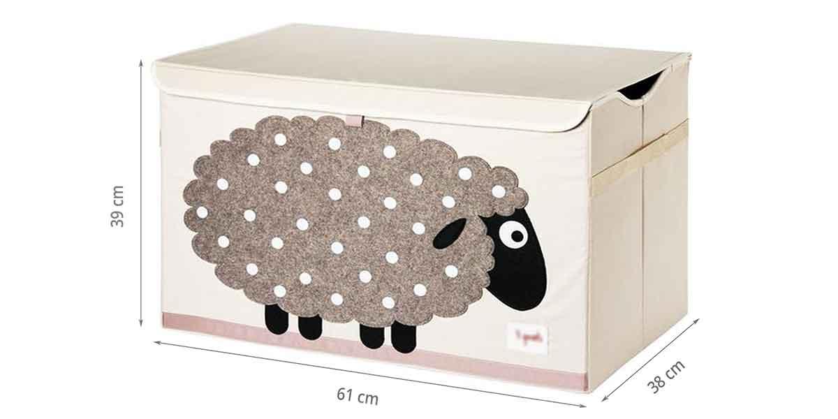 Dimensions du coffre à jouets pliable mouton