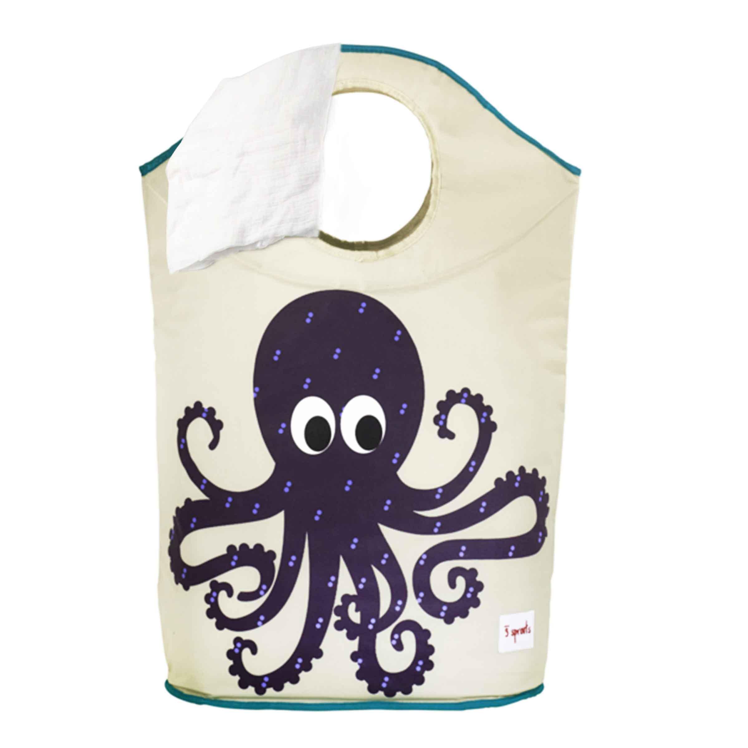 Panier à linge ludique en tissu avec motif pieuvre