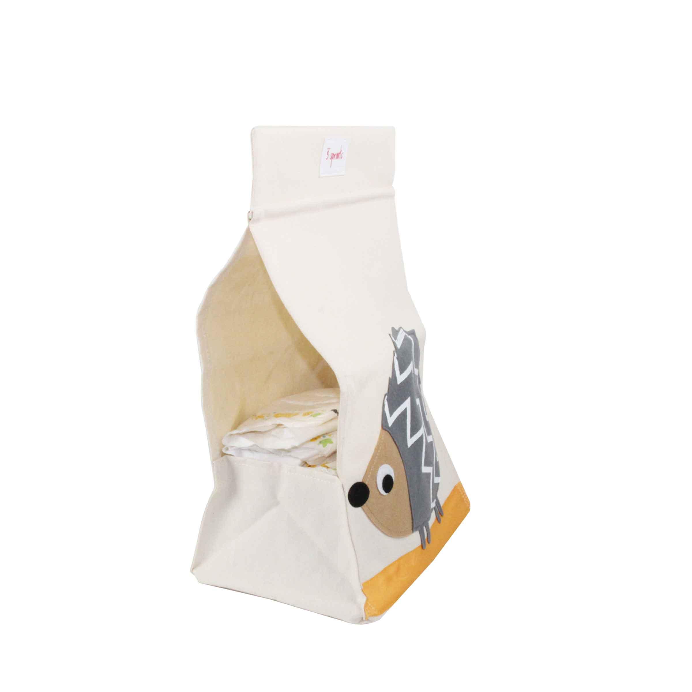 Sac de rangement en tissu à suspendre pour couches avec motif hérisson