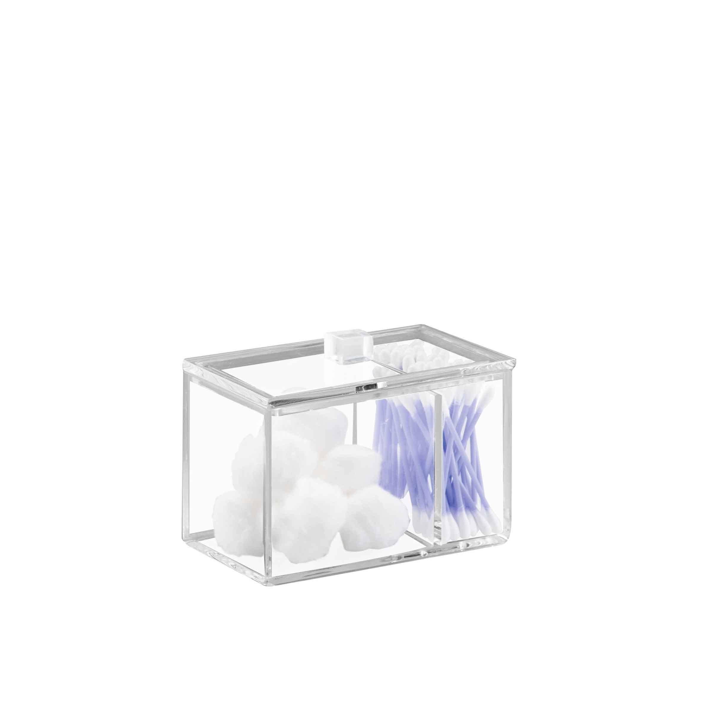 Boîte rectangulaire de rangement en plastique transparent pour cotons tiges et coton