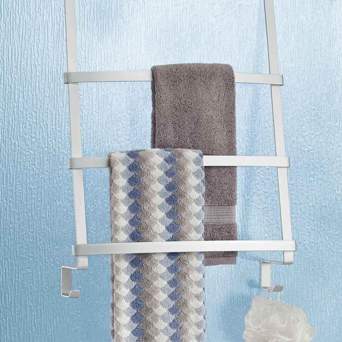 Porte serviettes en aluminium de porte à suspendre avec plusieurs niveaux et 2 crochets