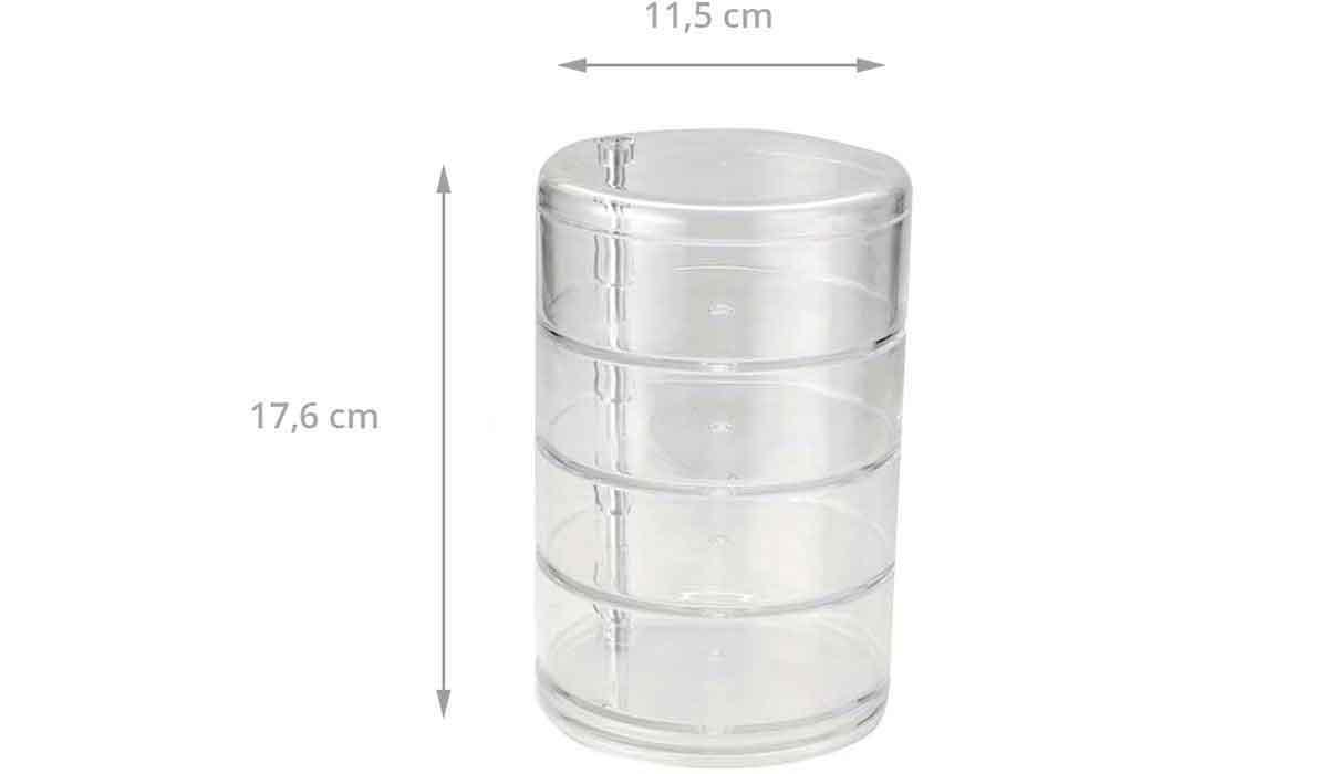 Bo te cylindrique transparente 4 niveaux rangement - Boite acrylique transparente ...