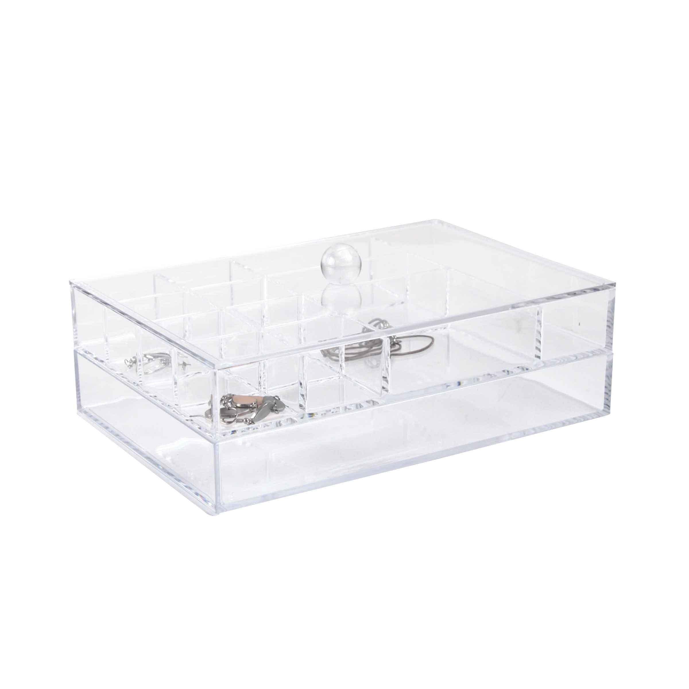 coffre de rangement pour bijoux transparent en acrylique avec 2 niveaux dont 1 compartimenté