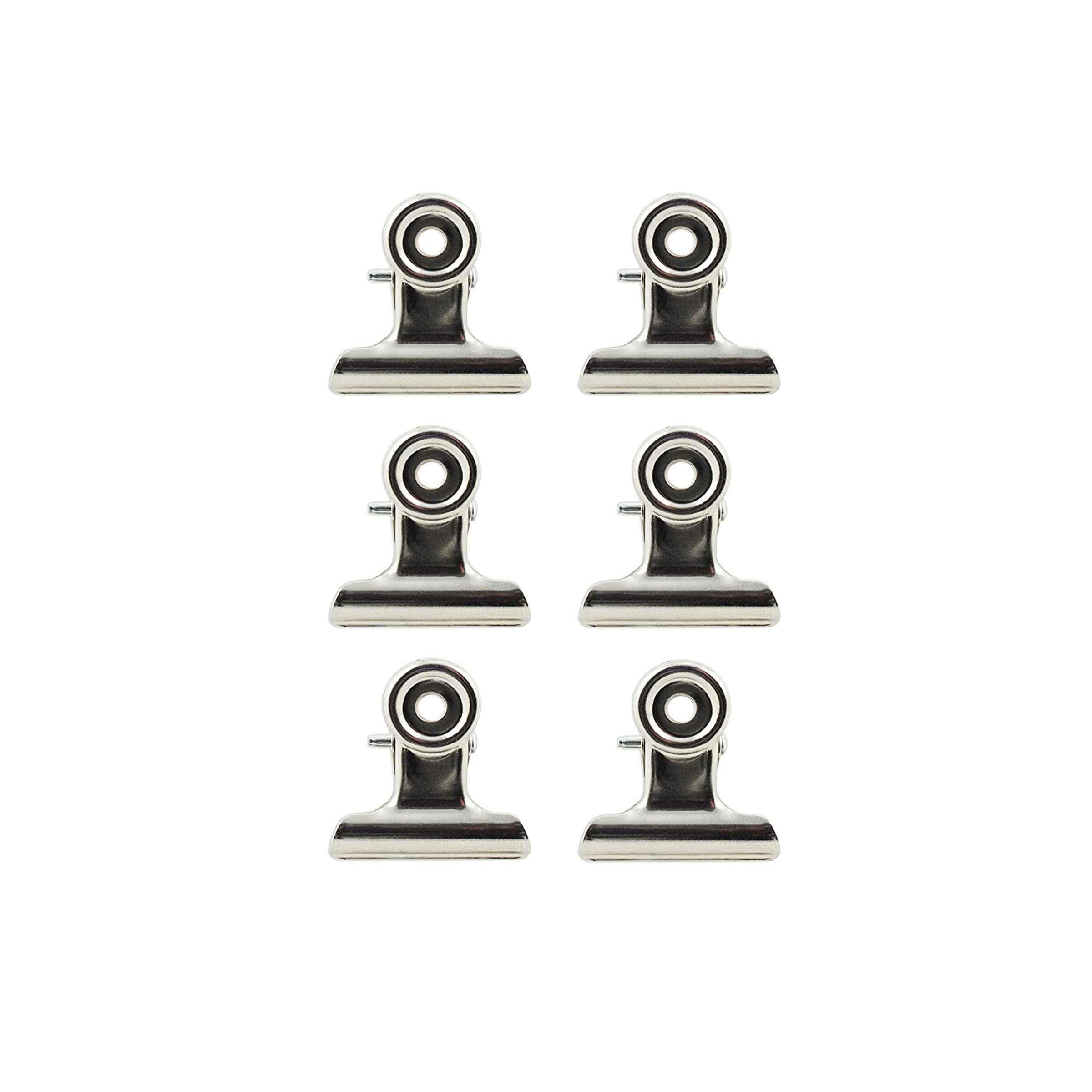 Set de 6 pinces magnétiques en métal chromé