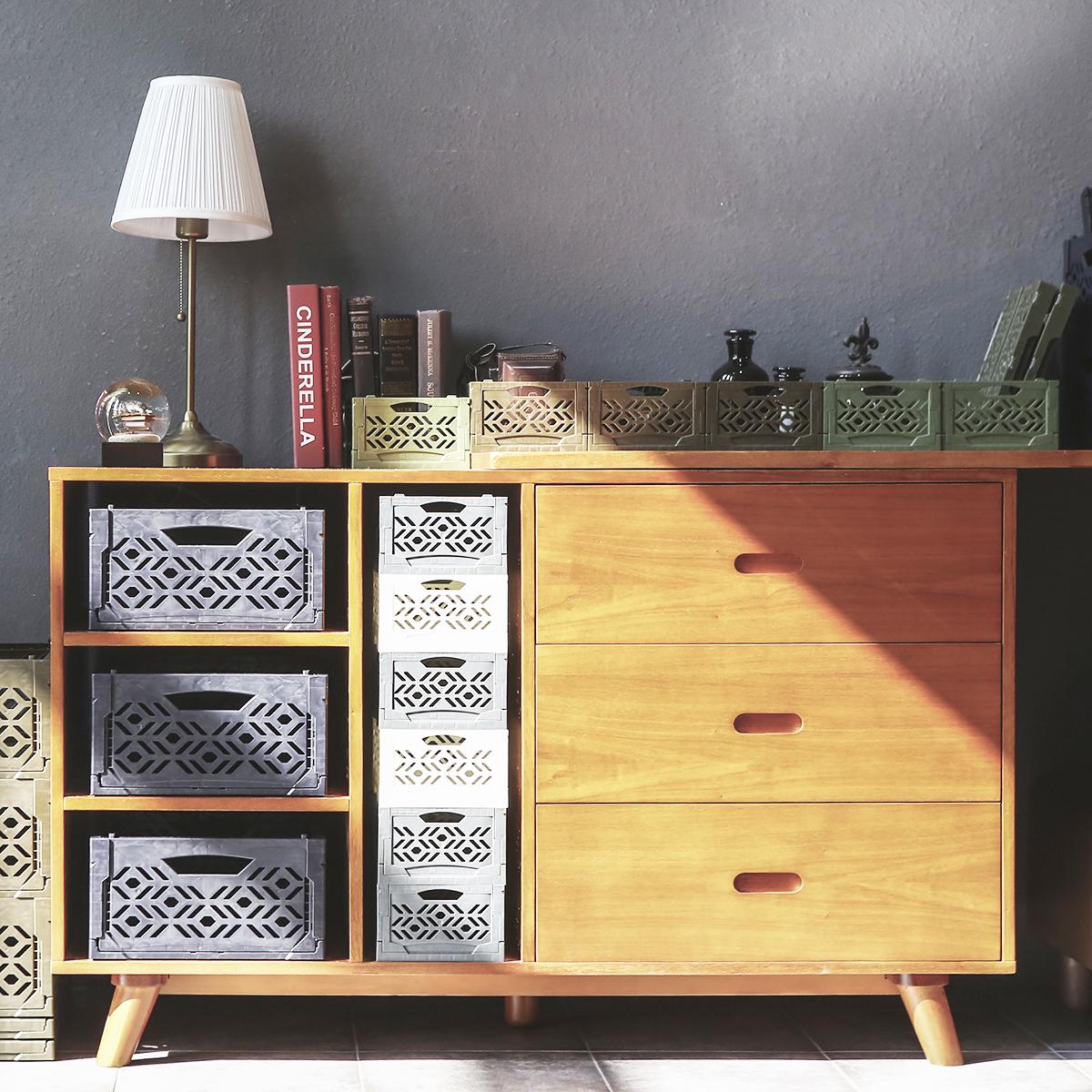 mini cagette grise empilable organisation placards. Black Bedroom Furniture Sets. Home Design Ideas