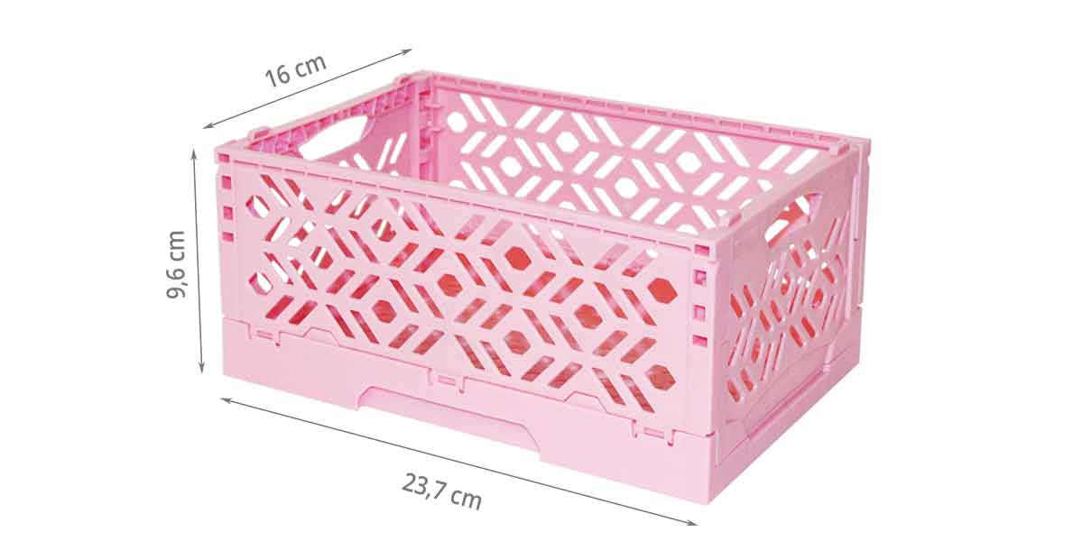 mini cagette rose empilable et pliable rangement enfants. Black Bedroom Furniture Sets. Home Design Ideas