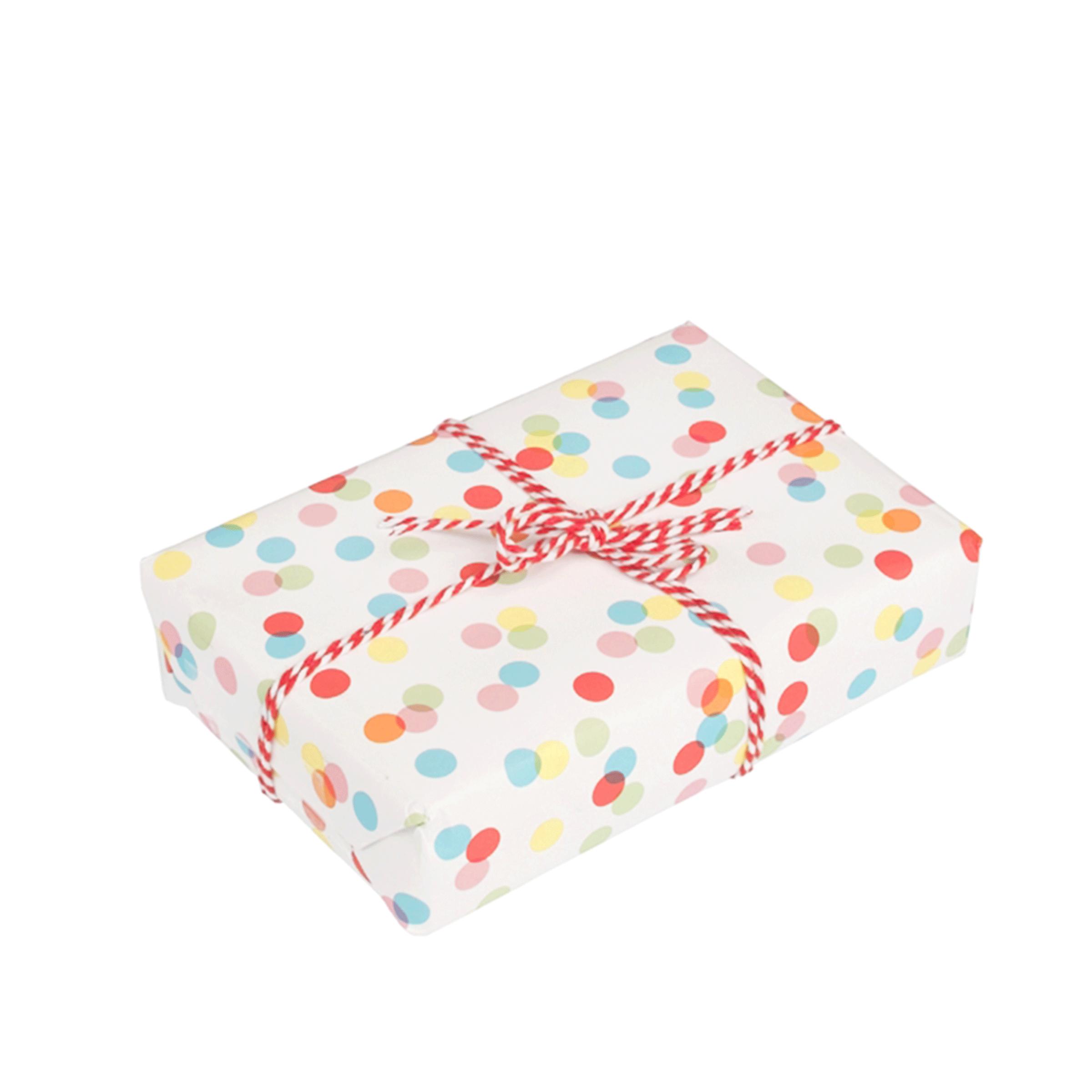 papier cadeau fond blanc à pois multicolor