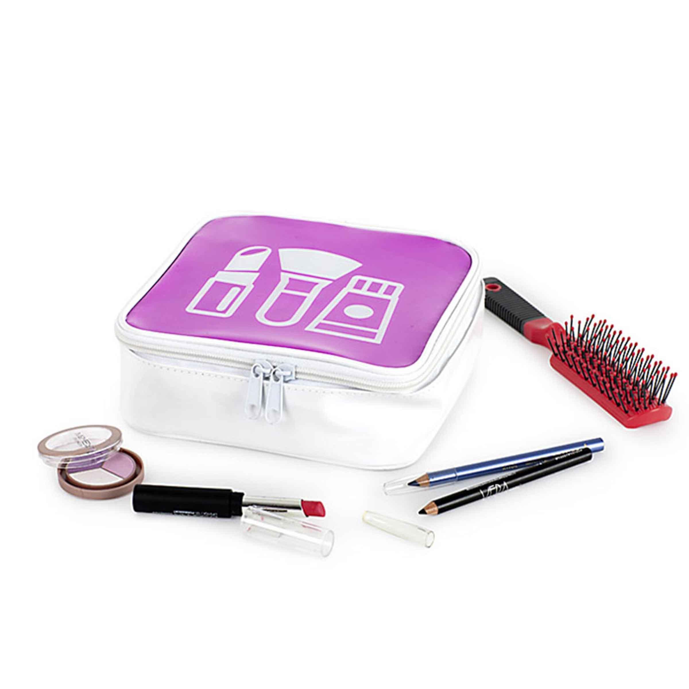 Trousse à maquillage en plastique blanc et violet avec fermeture éclair