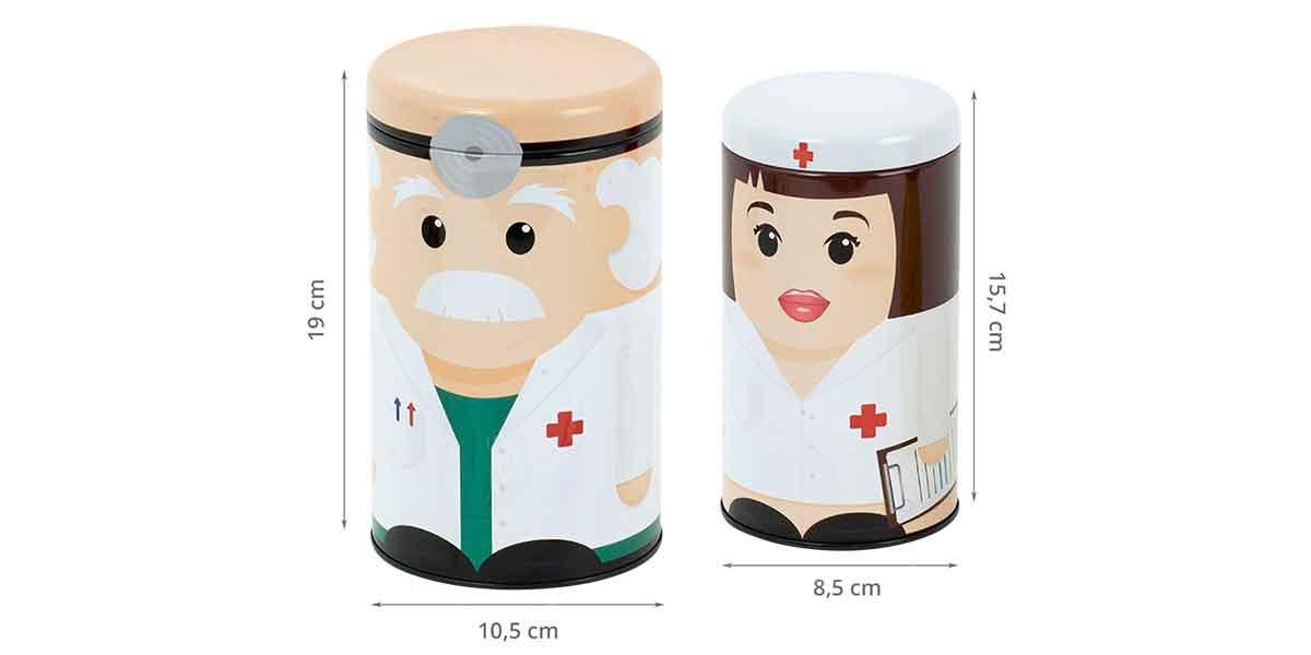 Dimensions des boîtes à médicaments Dr & nurse
