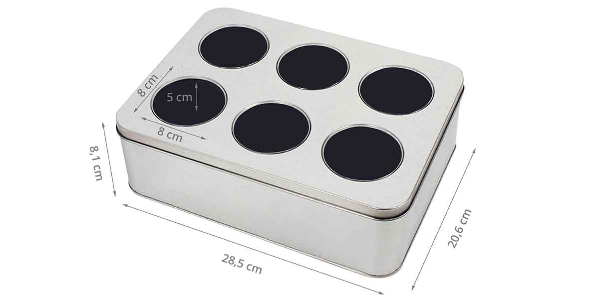 Dimensions de la boîte à 6 montres