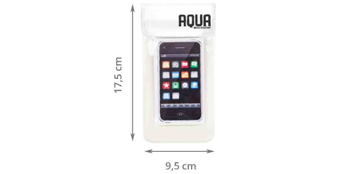 Dimensions de la pochette imperméable transparente avec cordon blanc
