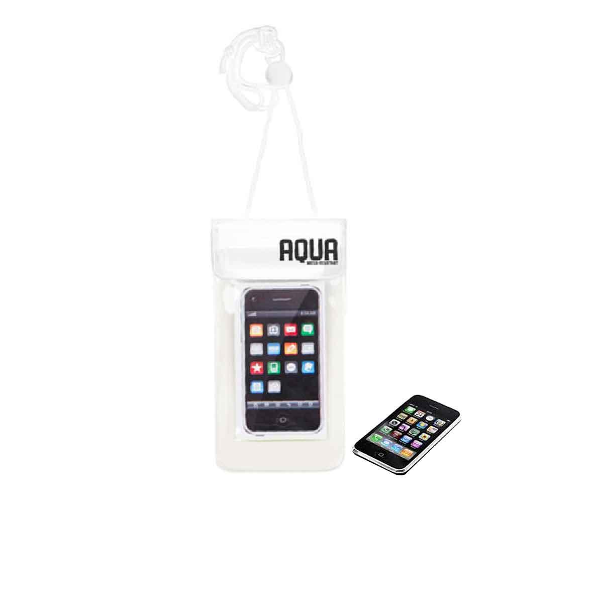 pochette imperméable pour téléphone portable en plastique translucide et cordon blanc