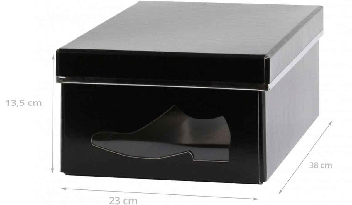 Bo te chaussures en carton noir rangement - Boite a chaussure en carton ...