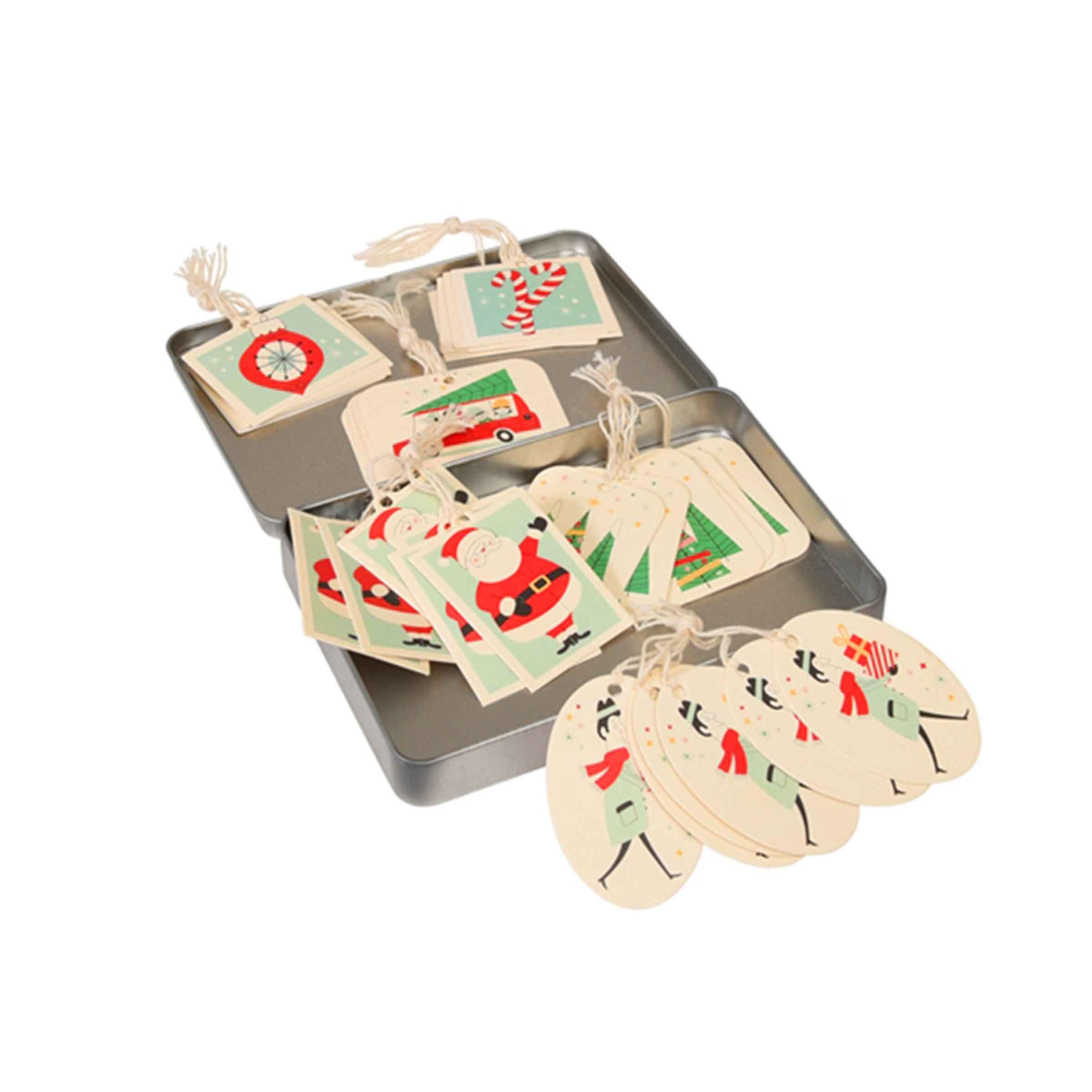 Boîte en métal avec 36 étiquettes cadeaux cartonnées avec motifs noël