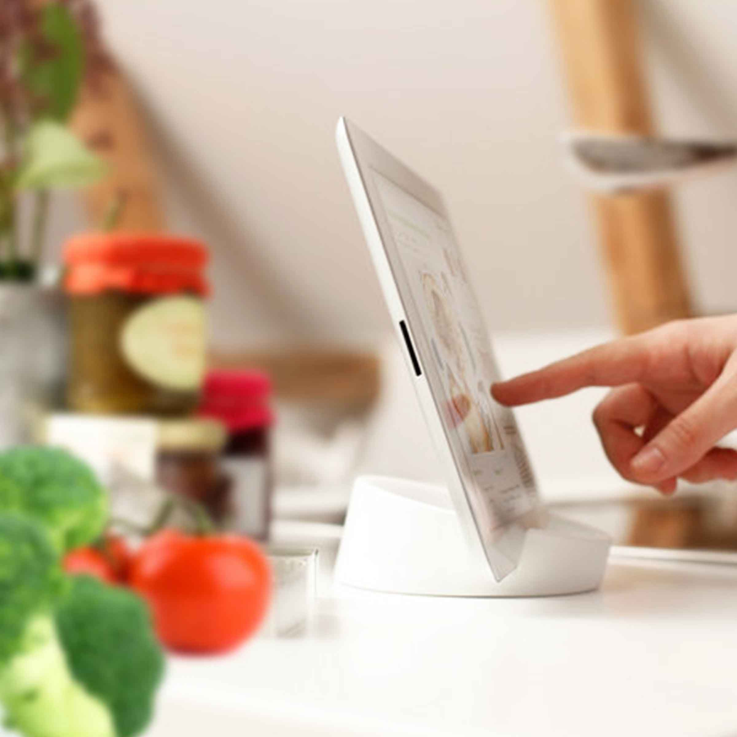 Lutrin pour tablette tactile en silicone blanc