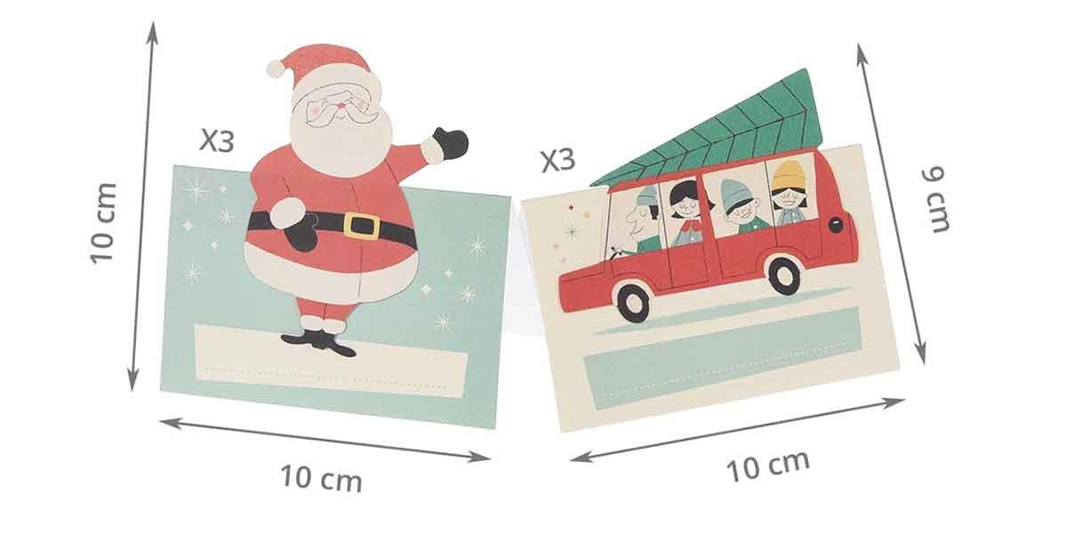 Dimensions des marque place de Noel